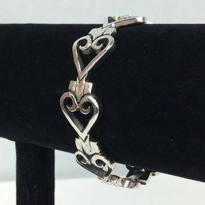 Unique Heavy Artisan Sterling Heart Links Bracelet